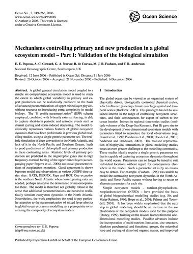 Mechanisms Controlling Primary and New P... by Popova, E. E.