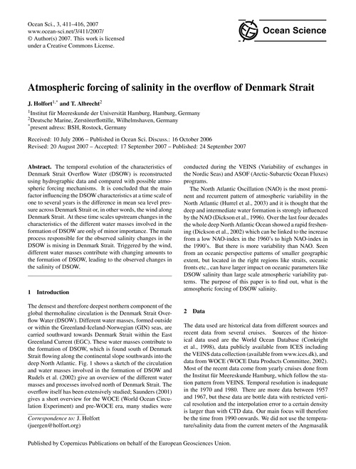 Atmospheric Forcing of Salinity in the O... by Holfort, J.