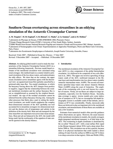 Southern Ocean Overturning Across Stream... by Treguier, A. M.