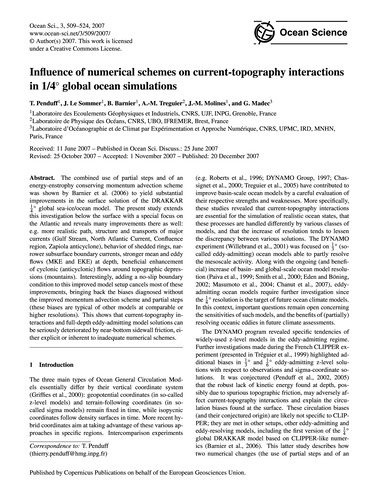 Influence of Numerical Schemes on Curren... by Penduff, T.