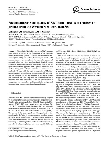 Factors Affecting the Quality of Xbt Dat... by Reseghetti, F.