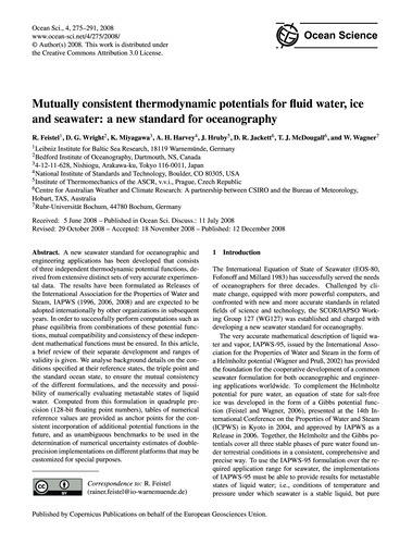 Mutually Consistent Thermodynamic Potent... by Feistel, R.