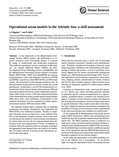 Operational Ocean Models in the Adriatic... by Chiggiato, J.