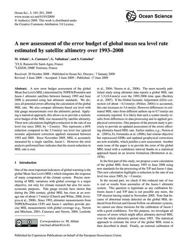 A New Assessment of the Error Budget of ... by Ablain, M.