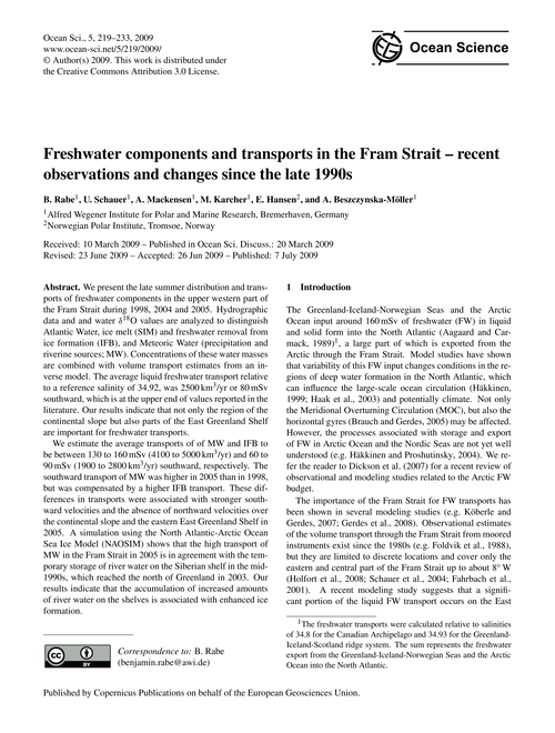 Freshwater Components and Transports in ... by Rabe, B.