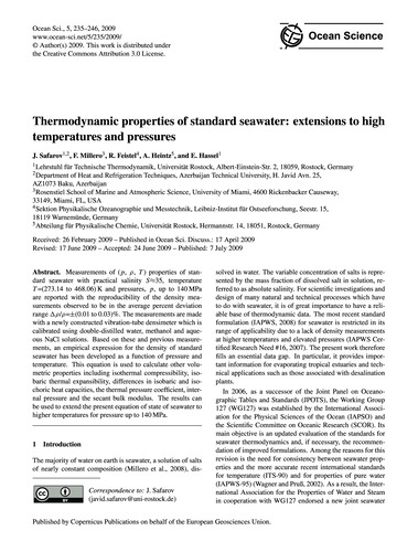 Thermodynamic Properties of Standard Sea... by Safarov, J.