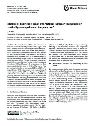 Metrics of Hurricane-ocean Interaction: ... by Price, J. F.