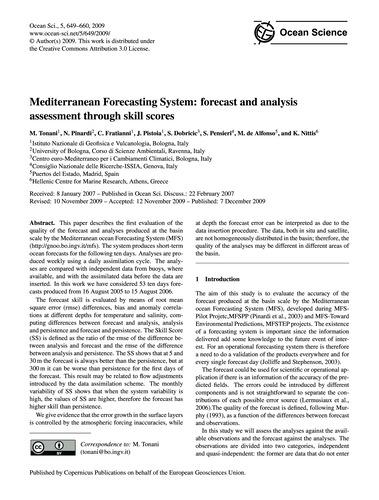 Mediterranean Forecasting System: Foreca... by Tonani, M.