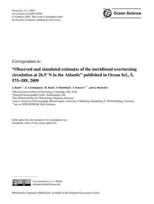 Corrigendum to Observed and Simulated Es... by Baehr, J.