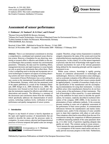 Assessment of Sensor Performance : Volum... by Waldmann, C.