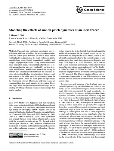 Modeling the Effects of Size on Patch Dy... by Xiu, P.