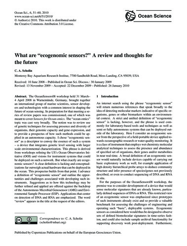 What Are Ecogenomic Sensors? a Review an... by Scholin, C. A.
