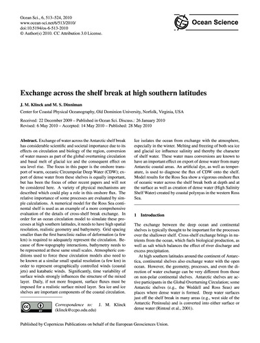 Exchange Across the Shelf Break at High ... by Klinck, J. M.