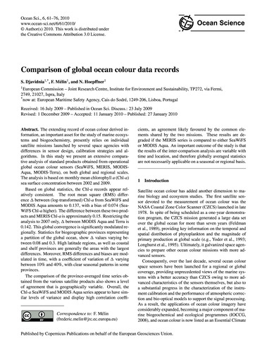Comparison of Global Ocean Colour Data R... by Djavidnia, S.