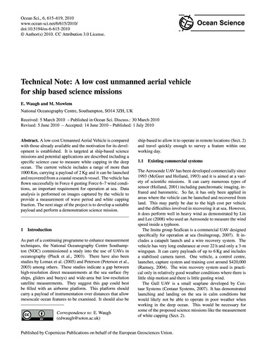 Technical Note: a Low Cost Unmanned Aeri... by Waugh, E.