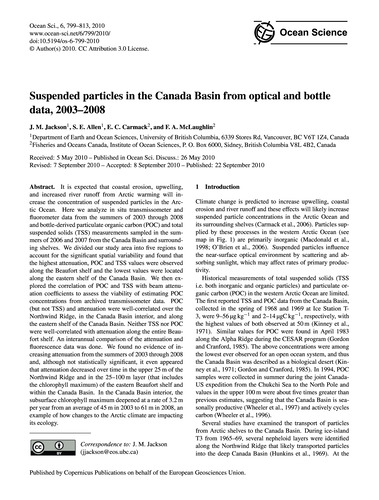Suspended Particles in the Canada Basin ... by Jackson, J. M.