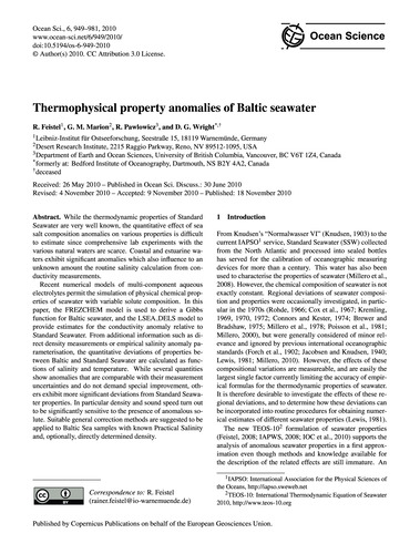 Thermophysical Property Anomalies of Bal... by Feistel, R.