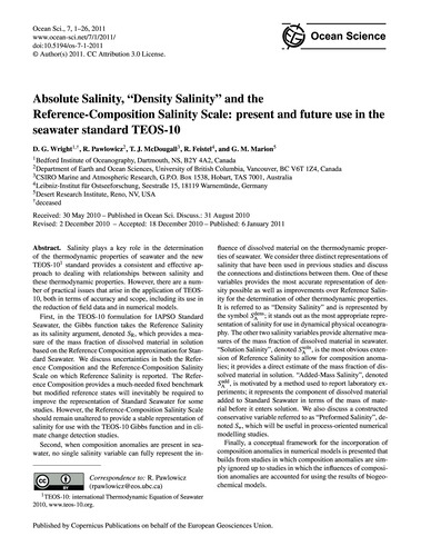 Absolute Salinity, ''Density Salinity'' ... by Wright, D. G.