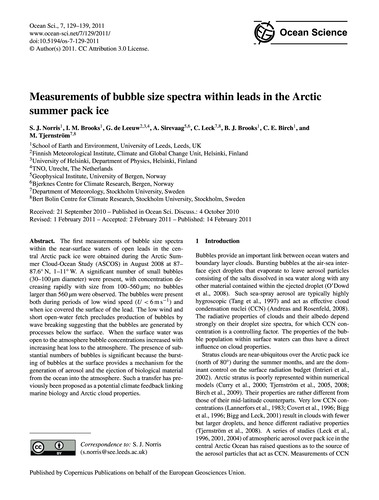 Measurements of Bubble Size Spectra With... by Norris, S. J.