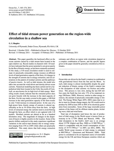 Effect of Tidal Stream Power Generation ... by Shapiro, G. I.
