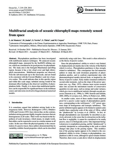 Multifractal Analysis of Oceanic Chlorop... by De Montera, L.