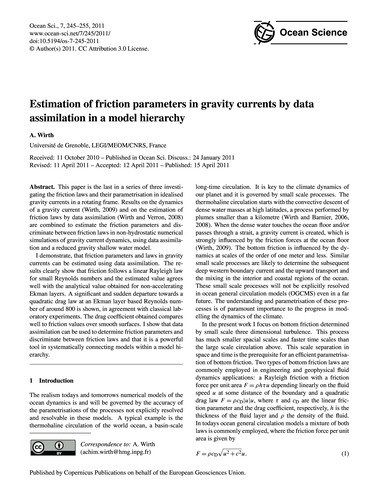 Estimation of Friction Parameters in Gra... by Wirth, A.