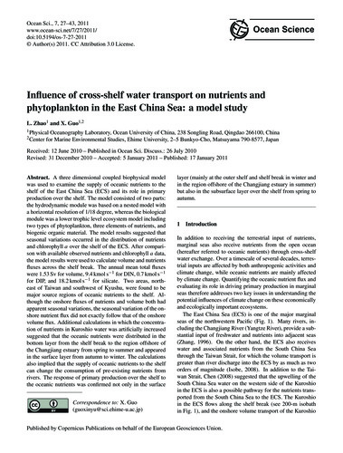 Influence of Cross-shelf Water Transport... by Zhao, L.