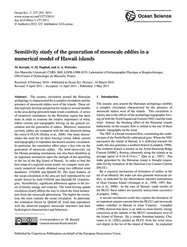 Sensitivity Study of the Generation of M... by Kersalé, M.