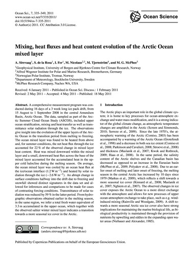 Mixing, Heat Fluxes and Heat Content Evo... by Sirevaag, A.
