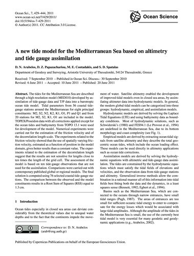 A New Tide Model for the Mediterranean S... by Arabelos, D. N.