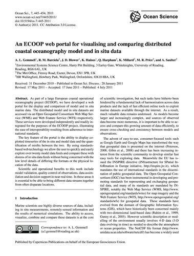 An Ecoop Web Portal for Visualising and ... by Gemmell, A. L.