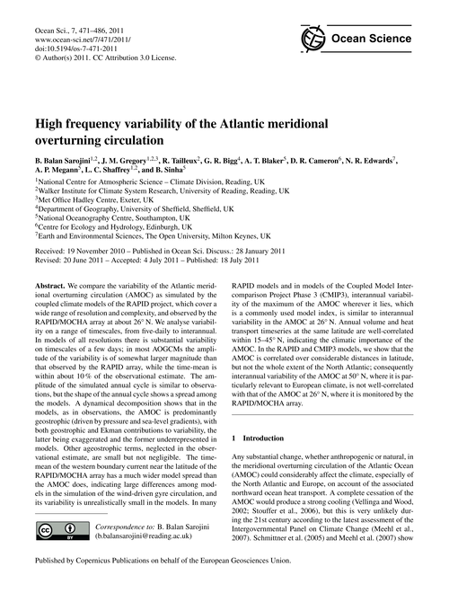 High Frequency Variability of the Atlant... by Balan Sarojini, B.