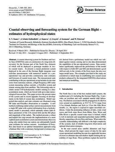 Coastal Observing and Forecasting System... by Stanev, E. V.
