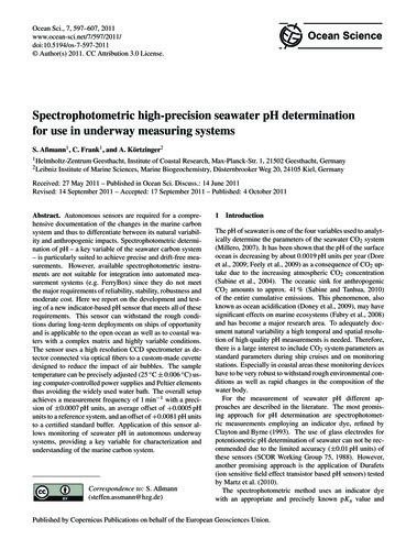 Spectrophotometric High-precision Seawat... by Aßmann, S.