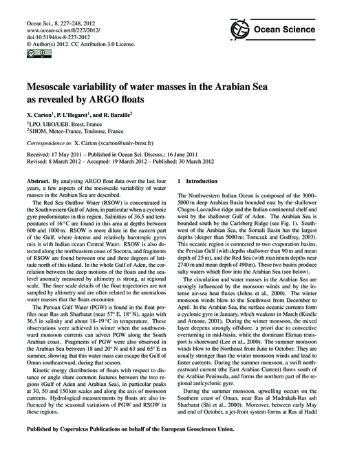 Mesoscale Variability of Water Masses in... by Carton, X.
