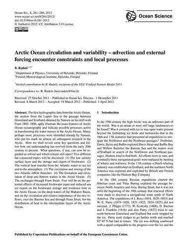 Arctic Ocean Circulation and Variability... by Rudels, B.