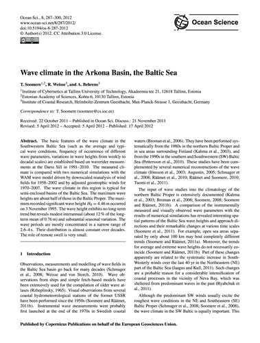 Wave Climate in the Arkona Basin, the Ba... by Soomere, T.
