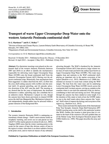 Transport of Warm Upper Circumpolar Deep... by Martinson, D. G.