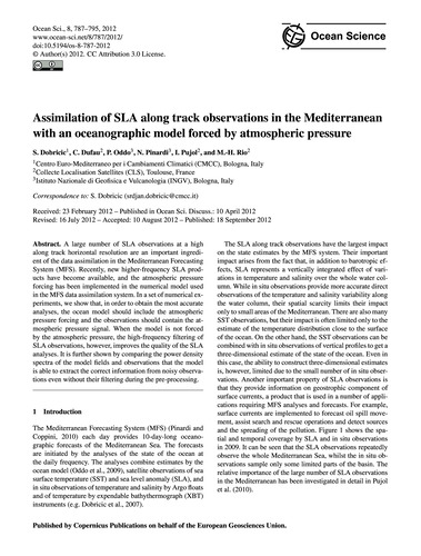 Assimilation of Sla Along Track Observat... by Dobricic, S.
