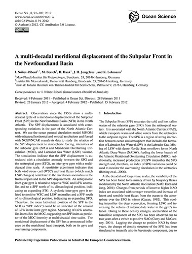 A Multi-decadal Meridional Displacement ... by Núñez-riboni, I.