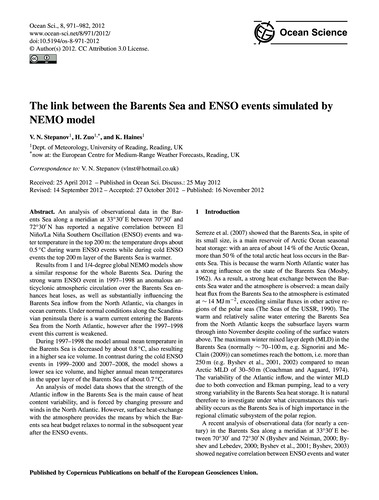 The Link Between the Barents Sea and Ens... by Stepanov, V. N.