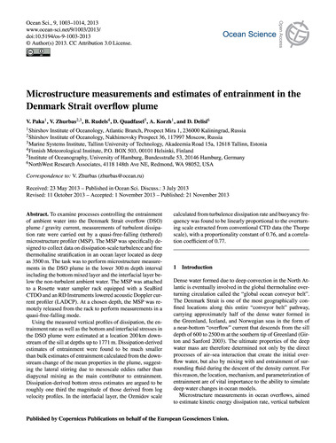 Microstructure Measurements and Estimate... by Paka, V.