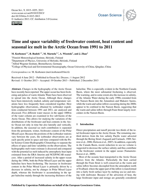 Time and Space Variability of Freshwater... by Korhonen, M.