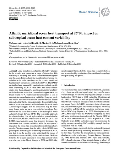 Atlantic Meridional Ocean Heat Transport... by Sonnewald, M.