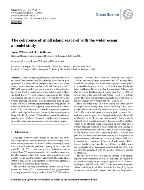 The Coherence of Small Island Sea Level ... by Williams, Joanne