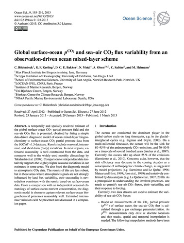 Global Surface-ocean PCo2 and Sea–air Co... by Rödenbeck, C.