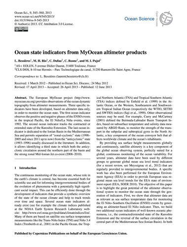 Ocean State Indicators from Myocean Alti... by Bessières, L.