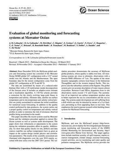 Evaluation of Global Monitoring and Fore... by Lellouche, J.-m.
