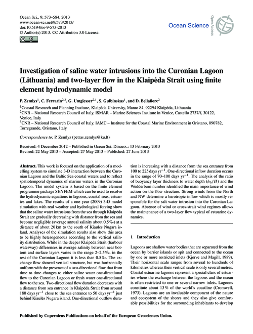 Investigation of Saline Water Intrusions... by Zemlys, P.