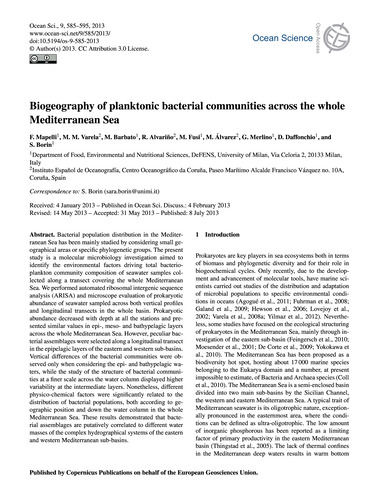 Biogeography of Planktonic Bacterial Com... by Mapelli, F.